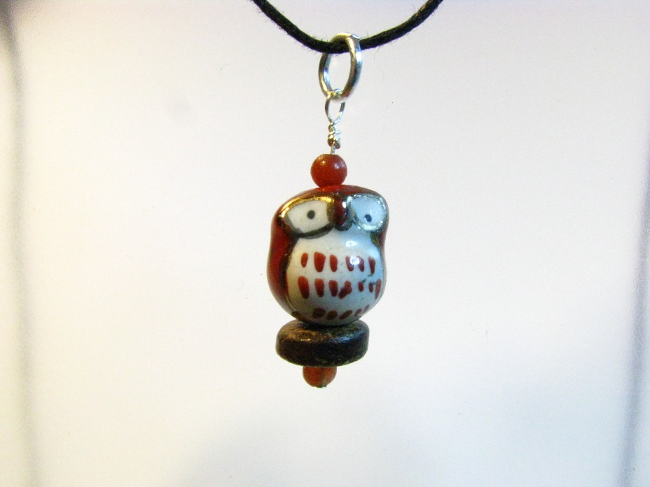 Porcelain Hooty Owl Pendant - Sweetfire Creations by Lori Reed