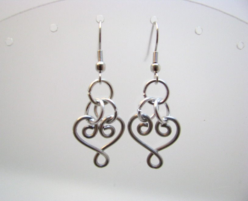 Hand-Wrapped Silver Colored Heart Earrings by Sweetfire Creations
