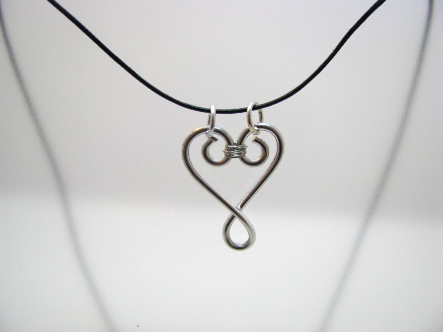 Hand-Wrapped Silver Colored Heart Necklace by Sweetfire Creations