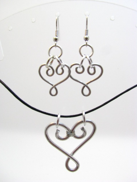 Hand-wrapped Silver Colored Wire Hearts by Sweetfire Creations