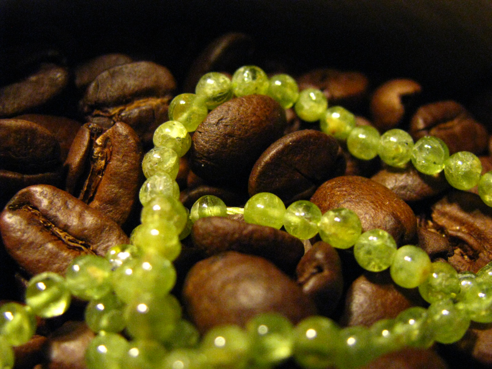 Peridot and Coffee Beans by Sweetfire Creations by Lori Reed
