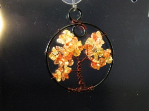 Backlit Amber Colored Fall Tree of Life by Sweetfire Creations
