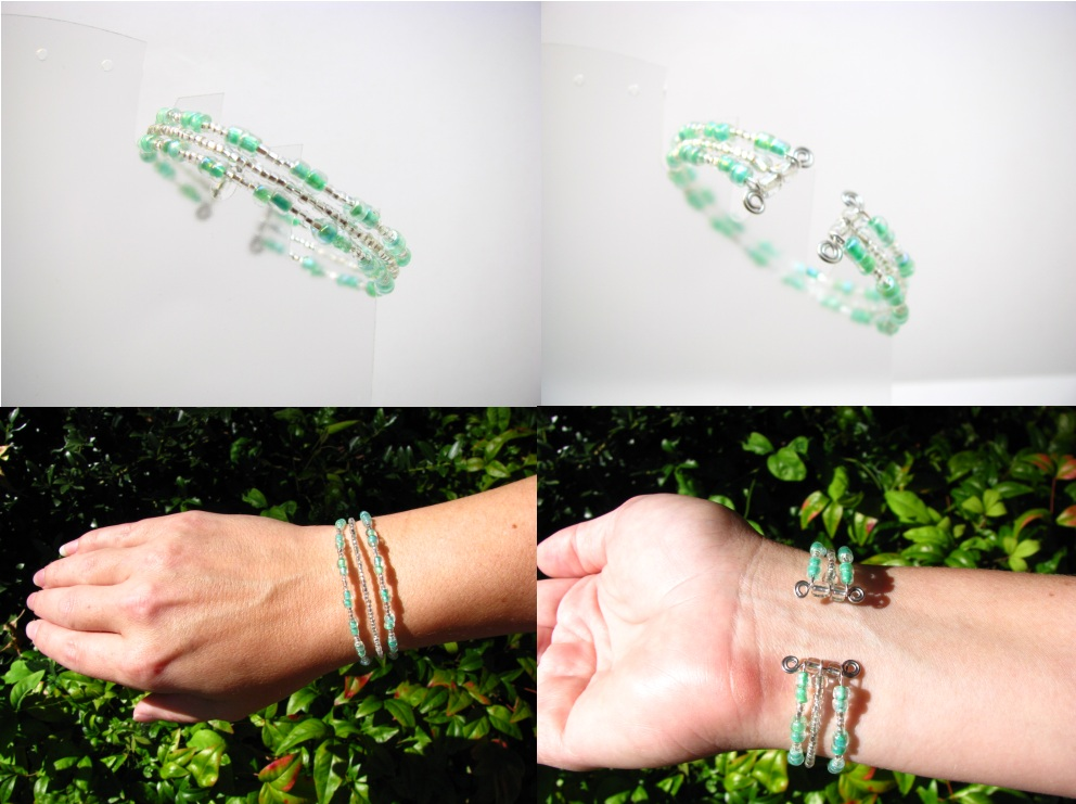 Green Tri-Strand Glass Bead Bracelet