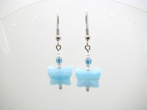 Light Blue Glass Butterfly Earrings