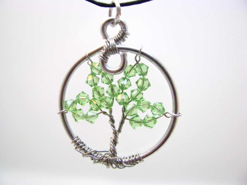 Peridot Swarovski Crystal Tree of Life Necklace by Sweetfire Creations