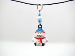 Enameled Brass Snowman Bell Necklace