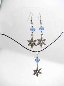 Light Blue Swarovski Crystal with Pewter Snowflake Necklace and Earrings