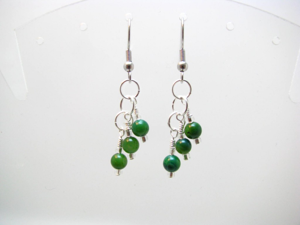 Green shell earrings by Sweetfire Creations Lori Reed
