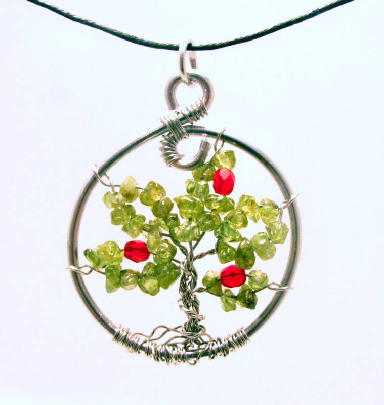 Peridot Tree of Life with Apples Necklace by Sweetfire Creations