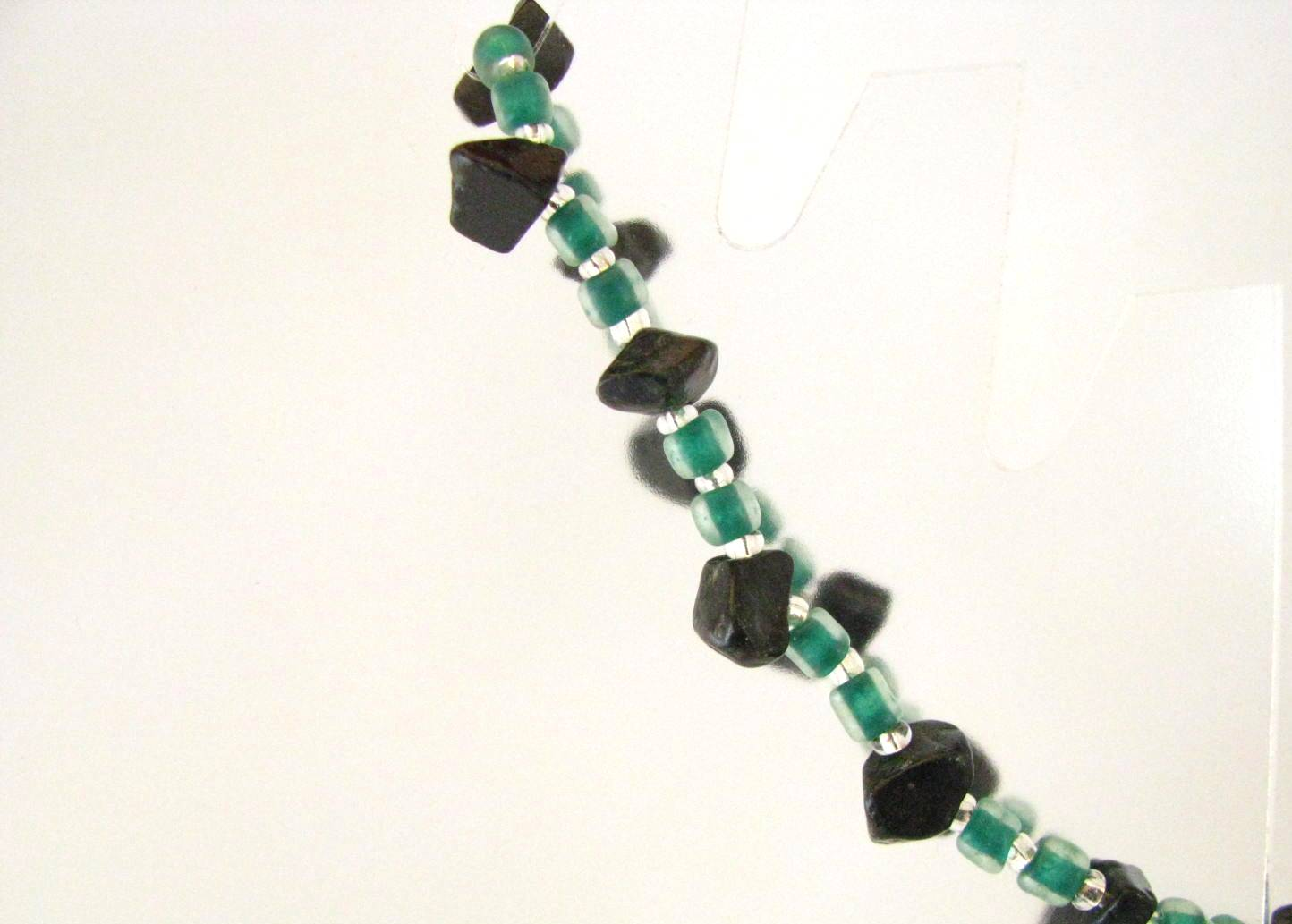 Green Glass and Obsidian Bracelet by Sweetfire Creations