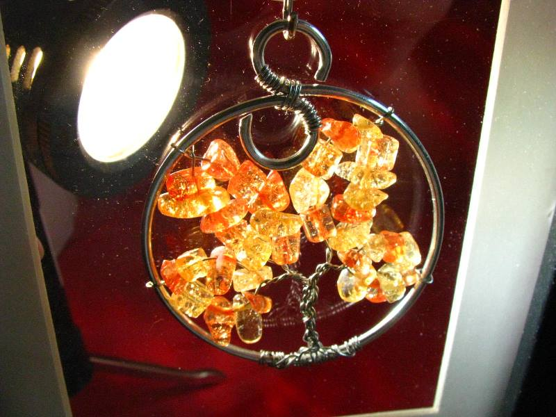 Tree of Life Tuesday – Amber Glass Fall Tree of Life Sun Catcher or Pendant Necklace