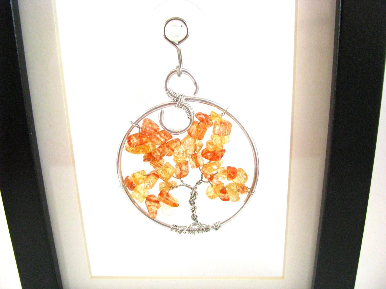 Amber Glass Tree of Life Necklace Sun Catcher or Pendant Necklace