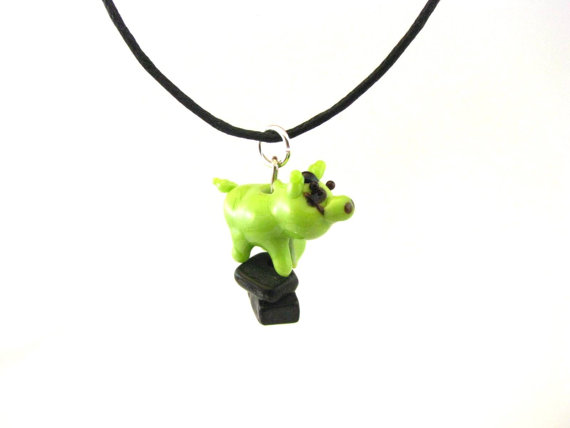 FrankenPig Pendant Necklace or The Modern Pig Prometheus Halloween Necklace