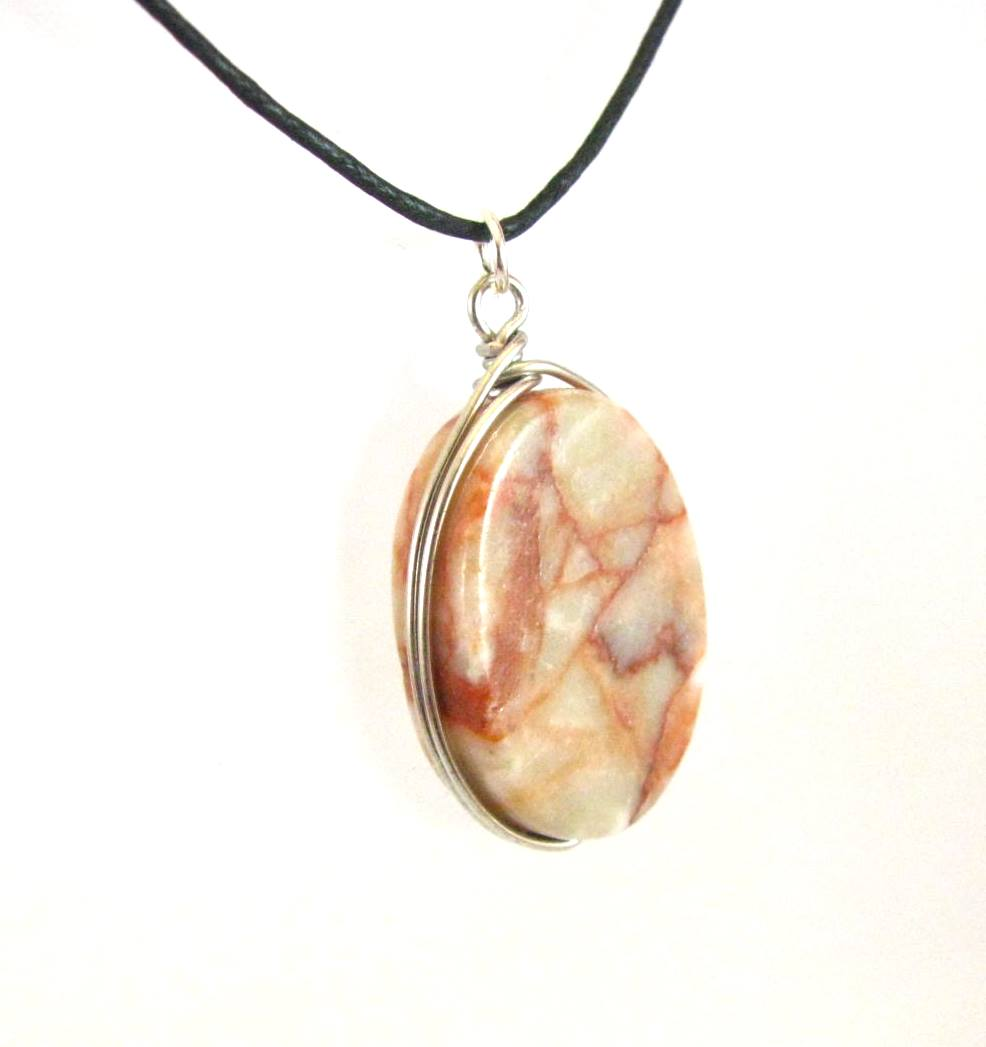 Redline Marble Oval Necklace by Sweetfire Creations