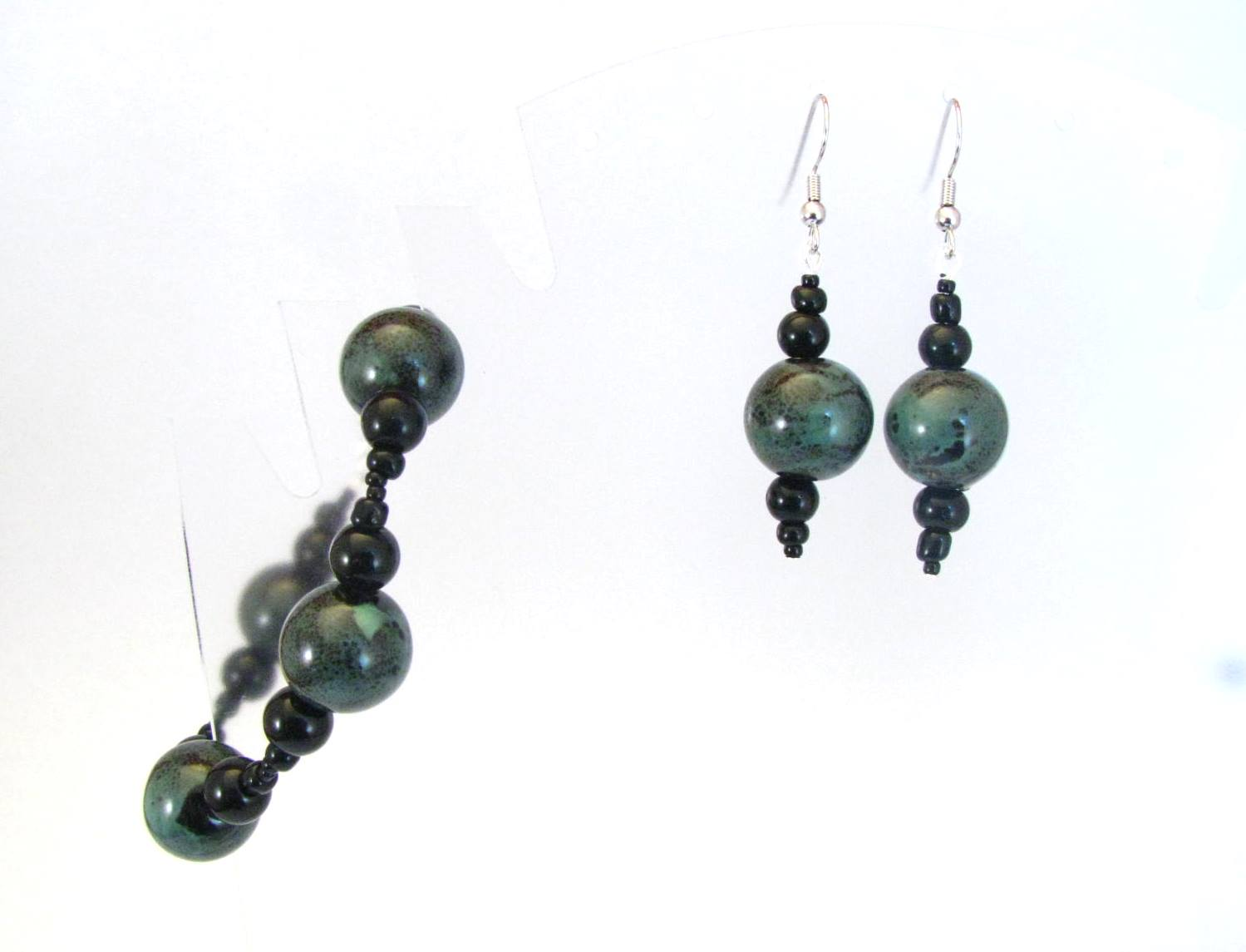 Chunky Blue Green Ceramic Bracelet and Earrings