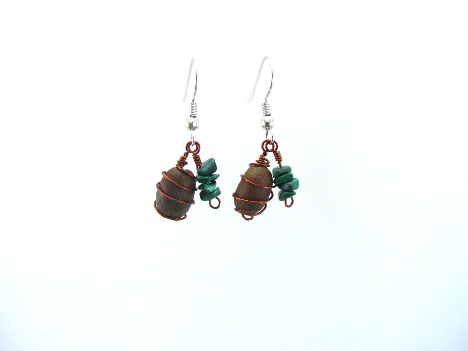 Coffee Bean Hand Wrapped in Copper with Malachite Earrings by Sweetfire Creations