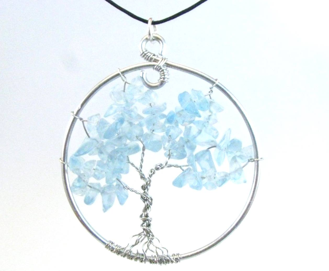 Icy Blue Tree of Life Pendant Necklace or Suncatcher
